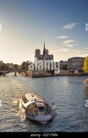 Notre Dame and River Seine in Paris, France - Stock Image