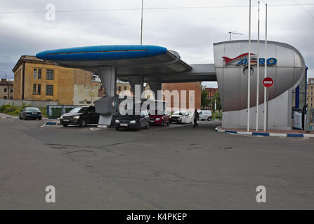 Petrol Station Aero, St. Petersburg, Russia - Stock Image