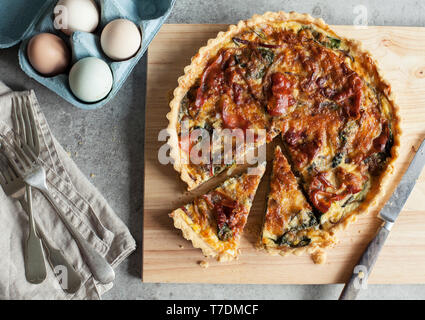 Proscuitto and Swiss Chard Tart - Stock Image