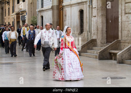 Procession at the annual offerings to the Lady of the Forsaken Valencia Spain - Stock Image