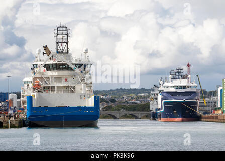 Boats in the Harbour at Aberdeen, Scotland - Stock Image