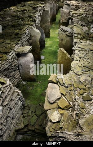 Midhowe prehistoric chambered stalled cairn Neolithic tomb on island of Rousay, Orkney, Scotland. Interior. Orkney - Stock Image