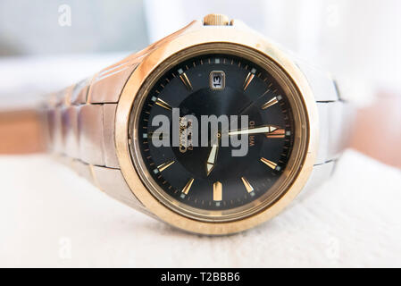 Face and hands of contemporary Citizen solar-powered wrist watch in UK - Stock Image