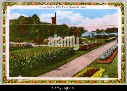 Cincinnati, Ohio, USA - Flower Garden at Eden Park. - Stock Image