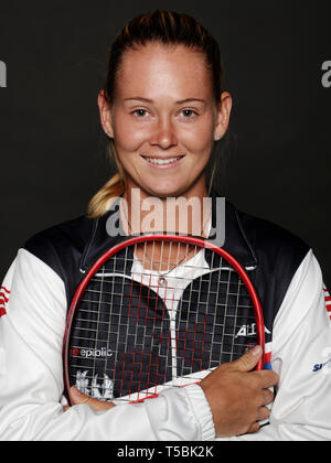 Czech tennis player Marie Bouzkova poses for the photographer prior to the Czech Republic vs Canada Fed Cup relegation contest, on April 18, 2019, in  - Stock Image