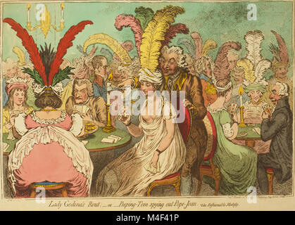 Lady Godina's rout; - or - Peeping-Tom spying out Pope-Joan James Gillray 1796 - Stock Image