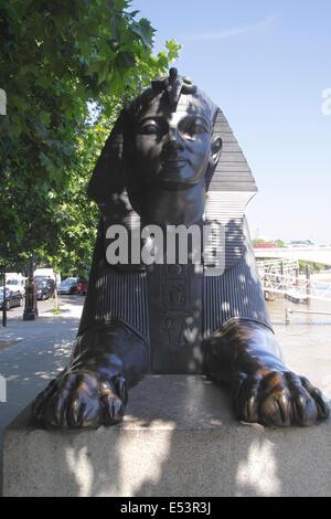Sphinx at Cleopatras Needle Victoria Embankment London - Stock Image