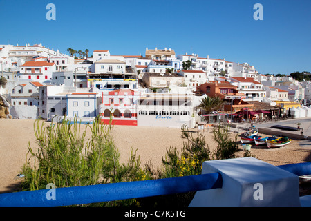 Portugal, Algarve, Carvoeiro, Beach & Town - Stock Image