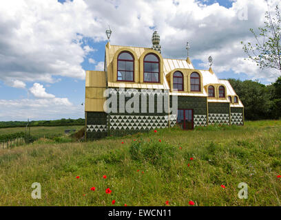 Fantasy holiday cottage in Wrabness Overlooking The River Stour designed by Grayson Perry and FAT Architecture. - Stock Image