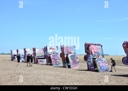 Cadillac Ranch along the historic Route 66, Amarillo, Texas, USA - Stock Image