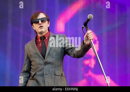 Southsea, UK. 24th Aug, 2014. Victorious Festival - Sunday, Southsea, Hampshire, England. Johnny Dean of Menswear - Stock Image
