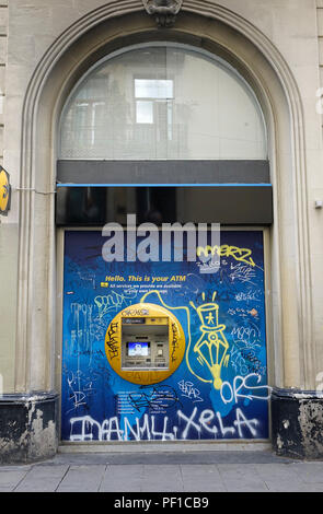 ATM Bank Cash Machines Of CaixaBank In Old Quarter Barcelona - Stock Image