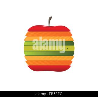 Digitally generated apple with different colour slices - Stock Image