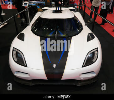 Front view of a Koenigsegg, Agera, on the Drivetribe stand, of the 2018 London Motor Show - Stock Image
