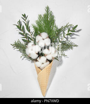 Wafer cone with cotton and fir branch on white background - Stock Image
