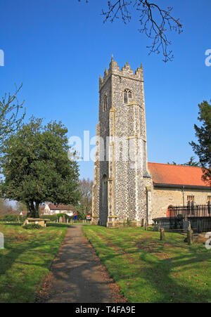 A view of the church tower of the parish Church of St Peter at Strumpshaw, Norfolk, England, United Kingdom, Europe. - Stock Image