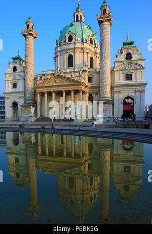 Austria, Vienna, Karlskirche, St Charles Church - Stock Image