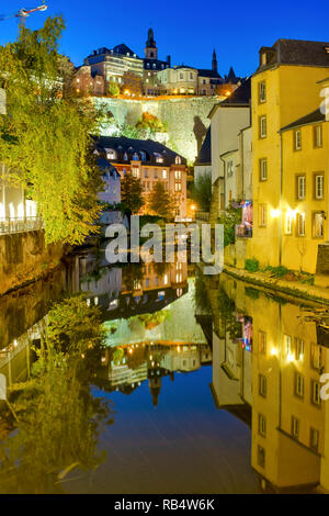 View of the Grund district in Luxembourg City, Luxembourg - Stock Image