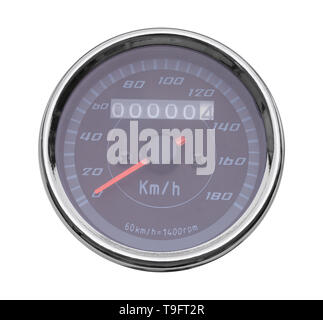 Round Metal Speedometer Cut Out on White. - Stock Image