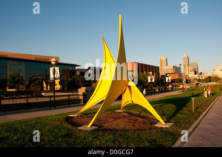USA, Indiana, Indianapolis, public outdoor sculptures in downtown area - Stock Image