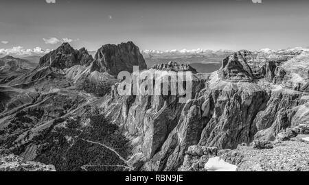 Marmolada mountain range seen from the Sass Pordoi plateau in Dolomites, Trentino Alto Adige, northern Italy, Europe - image in Black and White. - Stock Image