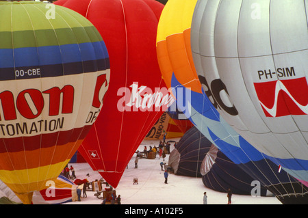 Hot Air Balloons Chateau D Oex Switzerland - Stock Image
