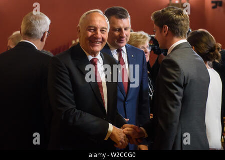 RIGA, LATVIA. 8th of July 2019. Andris Berzins, former President of Latvia (2011-2015), during Egils Levits, Newly elected President of Latvia, participation in the awarding ceremony of the highest state awards. Parliament of Latvia, Riga. Credit: Gints Ivuskans/Alamy Live News - Stock Image