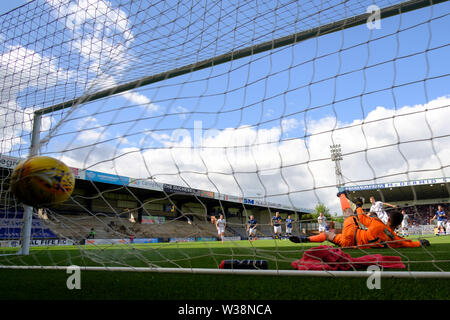 Starks Park, Kirkcaldy, UK. 13th July, 2019. Scottish League Cup football, Raith Rovers versus Dundee; Andrew Nelson of Dundee scores from the penalty spot for 2-0 Credit: Action Plus Sports/Alamy Live News - Stock Image