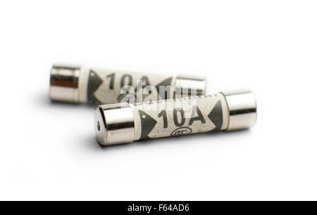 UK Domestic plug 10A fuses on a white background. - Stock Image