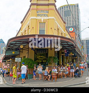 Australian's celebrating Australia Day in a hotel in The Rocks Sydney Australia - Stock Image