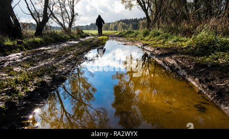 Human figure on off-road track. Tree mirroring in water close-up. Man silhouette. Muddy bumpy field path in spring landscape. Forest in a background. - Stock Image