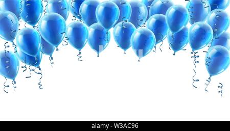 Blue Party Balloons Background - Stock Image