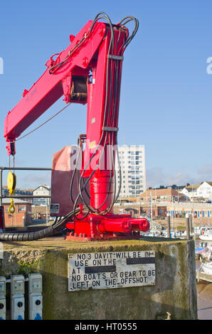Red Crane in Bridlington East Yorkshire Uk - Stock Image
