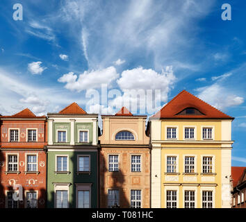Poznan Old Town colorful houses facades against the sky, Poland. - Stock Image