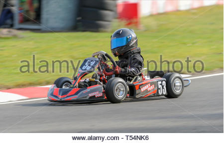 Larkhall, UK. 21st April, 2019. 53 Bobby Peat in the  Bambino class Time Trial  during Round 2 of the 2019 WSKC Club Championship at Summerlee Raceway. Credit: Roger Gaisford/Alamy Live News - Stock Image