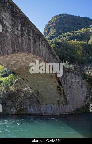 Roman Bridge Over The River Sarca In Ceniga - Stock Image