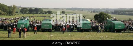 Police forces are ready to clear the lawn from demonstrators  with water cannons near Hinter Bolhagen, Germany, - Stock Image