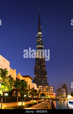 Burj Khalifa, highest Skycraper in the World, 828 meter, Burj Dubai, Dubai Mall, United Arab Emirates - Stock Image