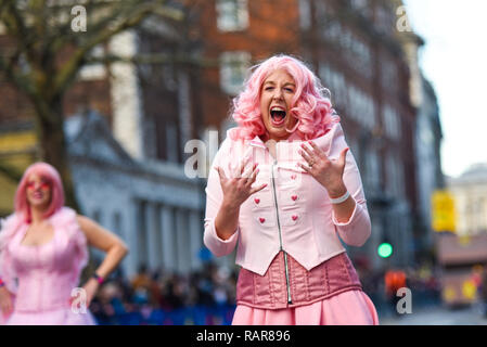 The Cotton Candies Marching Krewe from Alabama, USA, at London's New Year's Day Parade 2019 in London, UK - Stock Image