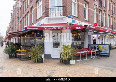 Exterior of Bar Basquiat on the corner of Javastraat and Sumtratrastraat in Amsterdam, the Netherlands - Stock Image