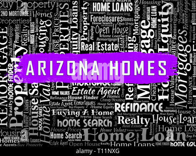 Arizona Property Wordcloud Shows Real Estate Broker In Az United States 3d Illustration - Stock Image