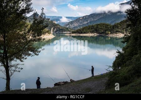 Lac Bai, Castillon, France - September 2018: Fishing on Lac Bai near Castillon, Provence, France - Stock Image