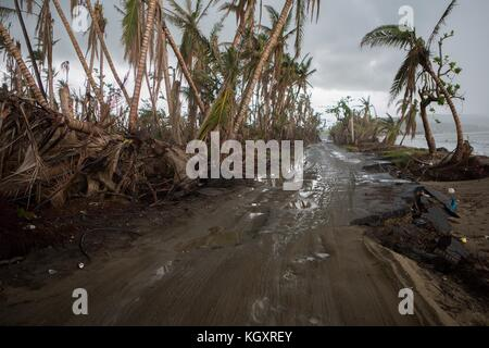 Flooding and road damage to Route 3 between the Punta Santiago neighborhoods of Humacao and Naguabo in the aftermath - Stock Image