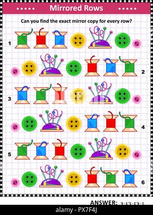 IQ training visual puzzle with colorful sewing spools, buttons, pins and pincushions: Match the pairs - find the exact mirror copy for every row. - Stock Image