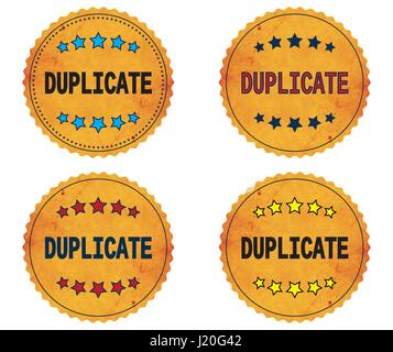 DUPLICATE text, on round wavy border vintage stamp badge, in color set. - Stock Image