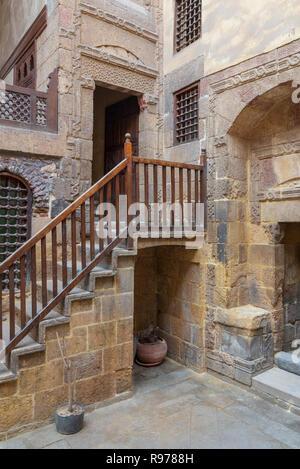Facade of ottoman historic Beit El Set Waseela building (Waseela Hanem House), located near to Al-Azhar Mosque in Darb Al-Ahmar district, Old Cairo - Stock Image