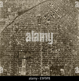 historical aerial photograph Denver, Colorado, 1963 - Stock Image