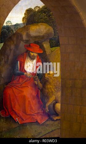 St Jerome and the Lion, Hans Memling, 1485-1490,  Zurich Kunsthaus, Zurich, Switzerland, Europe - Stock Image