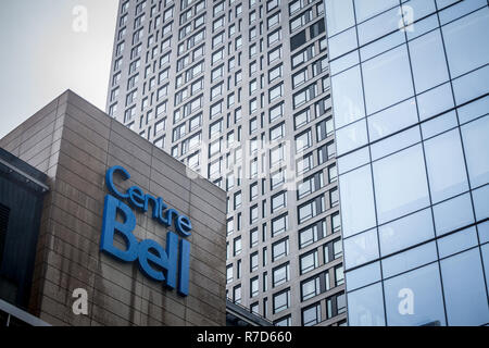 MONTREAL, CANADA - NOVEMBER 3, 2018: Bell Center logo, known as Centre Bell, in front of their main building. It is a sports and entertainent center,  - Stock Image
