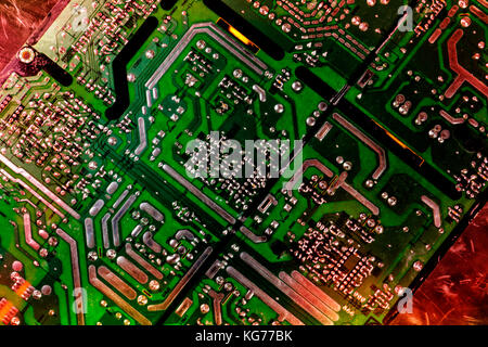 computer parts motherboard and microchips - Stock Image